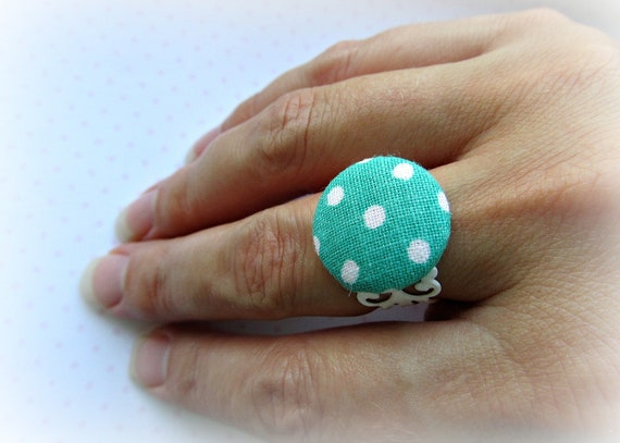 Vintage Teal Polka Dot fabric covered button on white adjustable filigree ring