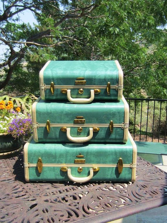 Turquoise Samsonite Suitcase - Mid Century Suitcases - Set of Three - Luggage