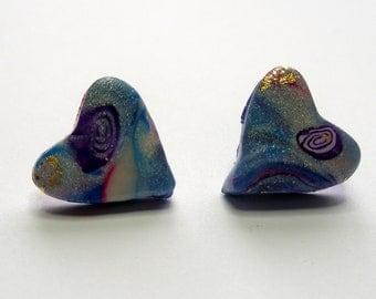 Heart Stud Earrings Heart Post Earrings Blue Heart Stud Earrings Blue Heart Post Earrings Valentine's Day Earrings