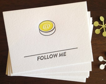 Letterpress Calling Cards - Follow Me (twitter, Instagram etc)