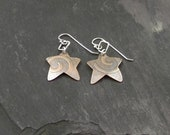 Textured copper star earrings with sterling silver
