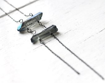 Ladder Necklace, Mystic Blue Titanium Quartz Oxidized Sterling Silver Necklace - Stacked Boho Long Necklace