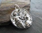 Artisan PMC Jewelry, Fine Silver Horse Pendant, Goddess Of The Dawn, Handmade