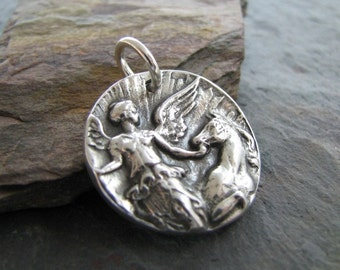 Artisan PMC Jewelry, Fine Silver Horse Pendant, Goddess Of The Dawn, Handmade