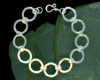 Hammered Bracelet Large Circle Sterling Silver Hammered Metalwork Link Wire Wirework Jewelry