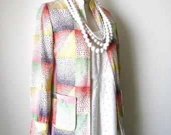 SALE Vintage Multi Color Polka Dot Cardigan Jacket