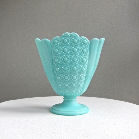 Turquoise Blue Milk Glass Fan Vase, Daisy and Button Pattern by Fenton, 1950s