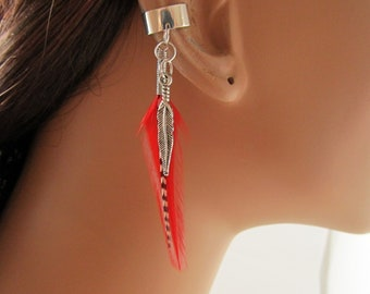 Valentine gift Silver Earcuff Red and Grizzly Feathers Cartilage Non Pierced