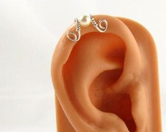 Upper Cartilage Earring Earcuff Helix Sterling Swarovski Cream Pearl
