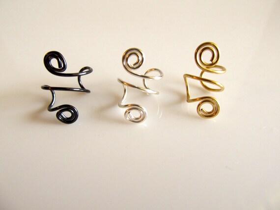 Ear Cuffs Set of 3 Spirals Gold Silver Gunmetal Gray Gift Under 15