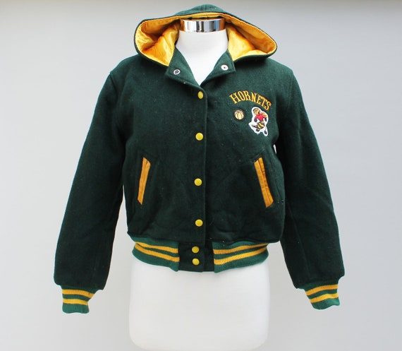 80s vintage hooded varsity jacket, Hornets, green wool, basketball, women's small.