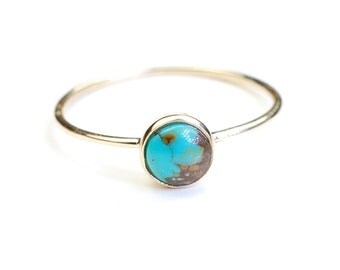 Turquoise Ring, Gold Ring, Turquoise Gold Ring, Stacking Ring, Turquoise Stacking Ring, Gold Stacking Ring, December Birthstone, Nixin