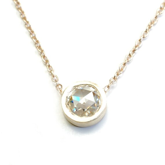 Solitaire, Solitaire Necklace, Rose Cut Moissanite Necklace, Moissante Necklace, Gold Solitaire Necklace, Nixin