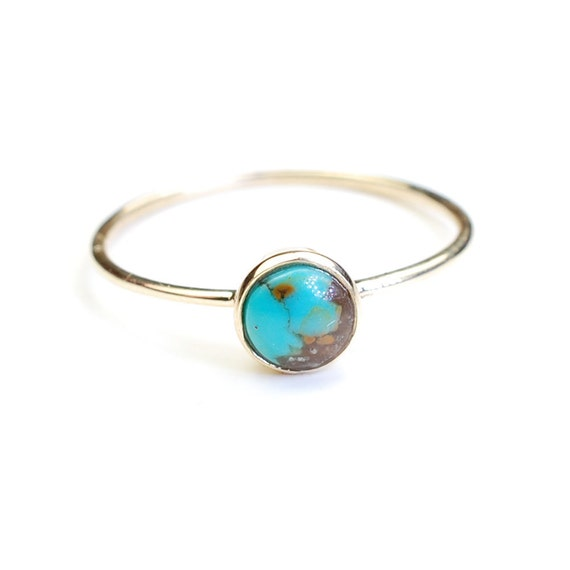 turquoise ring gold ring turquoise gold ring stacking by nixin