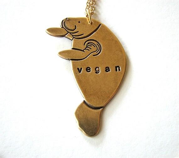 vegan manatee necklace - personalized sea cow jewelry