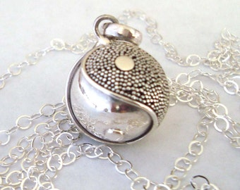 "16mm Mexican Bola Sterling Silver Maternity Pregnancy Harmony ball Chime Necklace 36"" chain CN6"