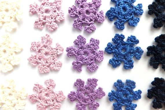 Crocheted snowflakes, Christmas decorations, handmade holiday ornaments, small applique, embellishments - blue, purple  /set of 15/