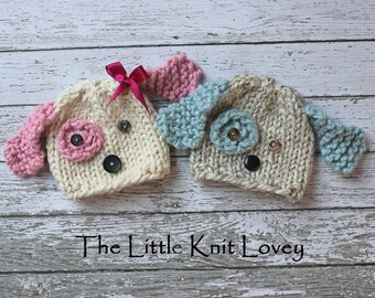 Twin set of Little Knit Puppy Dog Hats for Baby, Adorable Photography Prop