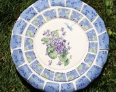 Violets Dragonfly Mosaic Stepping Stone