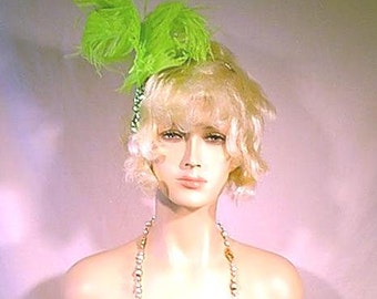Hand Made Lime Green Double Bent Ostrich Feathers Headpiece with Lime Green Sequin Trim