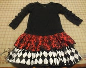 Ruffle twirling tiered T-shirt dress with ruffle knit sleeves. Elegant children's clothes.  Wear and Go, all occasions. Custom made. (NB-6T)