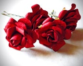 Deep Red Rose, Bohemian Wedding Hair Accessories, Bridal Red Hair Flower, Bobby Pins, Set of 4