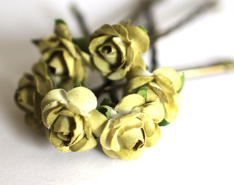 Olive Green Rose, Bridal Hair Accessories, Bohemian Wedding Hair Flower, Olive Flower Hairpin, Brass Bobby Pin - Set of 6