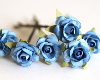 Blue Sky Rose, Bridal Hair Accessories, Bohemian Wedding Hair Flower, Something Blue Hair Flower, Brass Bobby Pins - Set of 6