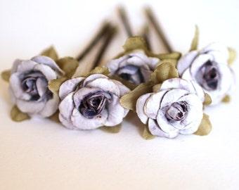 Fairy Rose, Bridal Hair Accessories, Bohemian Wedding Hair Flower, Pale Purple Hair Flower, Brass Bobby Pins - Set of 5