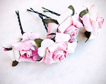 Blush Pink Rose, Bridal Hair Accessories, Wedding Accessories, Bridesmaid Hair Flower, Pink Hair Flower, Bobby Pin Set of 4