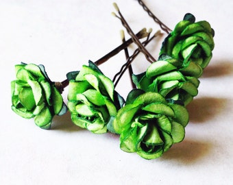 Irish Rose, Bridal Hair Accessories, Bohemian Wedding Hair Flower, Green Hair Flower, Bobby Pins - Set of 5