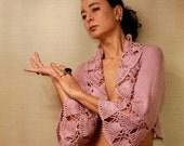 Pink Dreams / Crochet Shrug Knit Bolero Pink Wedding Shrug Wrap Pastel Rose Pink Ruffle Shrug Bridal Bolero Shrug Capelet