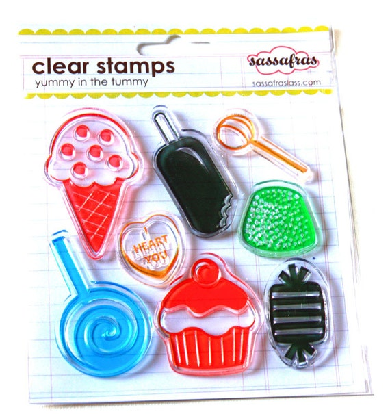 Yummy sweets  cupcake icecream and popcicle clear stamps set