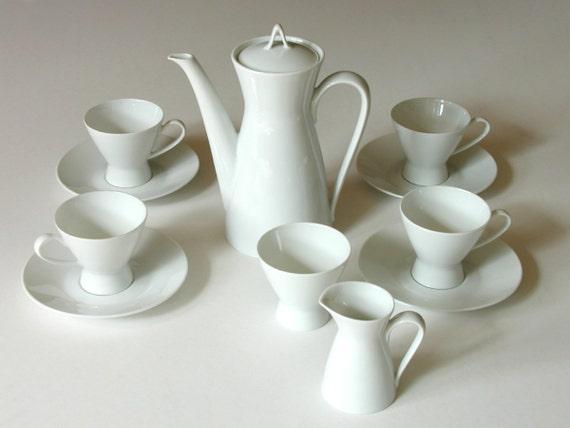 Rosenthal White Demitasse Coffee Set Raymond Loewy Form 2000 Mid Century