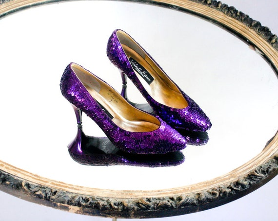 Purple Sequin Valenti Franco Sparkle Pumps - Size 7