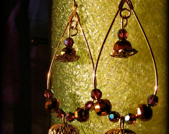 Bellydance inspired swarovski and gold plated wire earrings