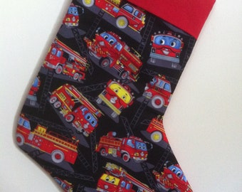 Little Fire Trucks Christmas Stocking can be personalized