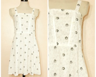 50s 60s White Floral Dress Lace Small Medium Strappy Black and White