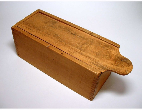 Vintage Wood Candle Box with Slide Lid - circa early 1900's