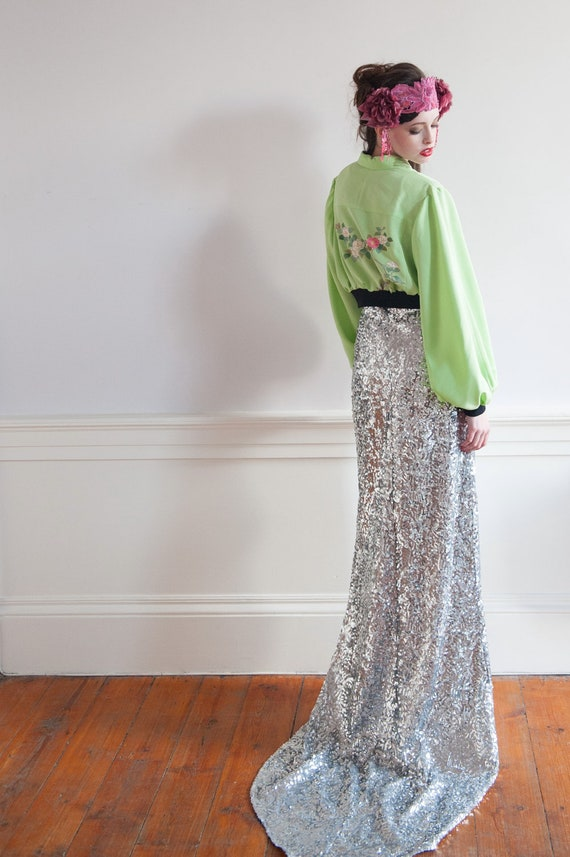 Sequin Fishtail Maxi Skirt Mermaid Sequin Skirt