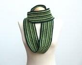 Green crochet scarf snood