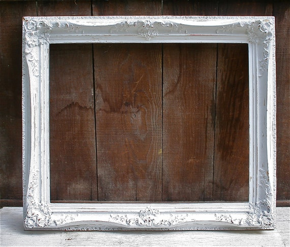 LARGE Antique Wood Upcycled White Distressed Frame - Very Ornate