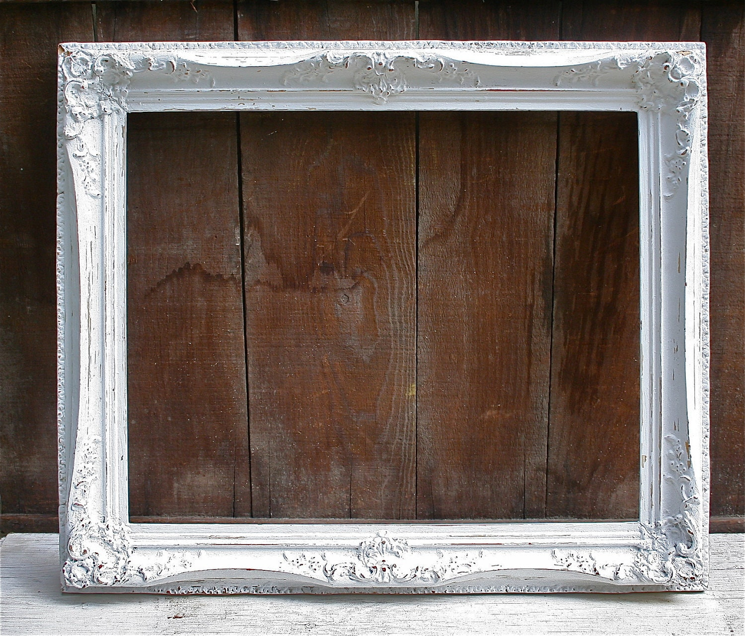 Large antique wood upcycled white distressed frame very - Antique white picture frames ...