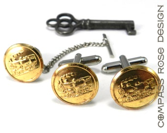 Train Cufflinks and Tie Pin Set - SOLDERED Vintage Shiny Brass Railroad Uniform Buttons - Vintage Upcycled Mens Cuff Links and Tie Pin