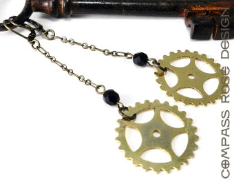 Steampunk Earring Brass Sprocket Long Dangle Gear Earrings with Black Accent handmade by Compass Rose Design