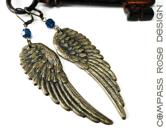 Wing Earrings - Brass Angel Wings - Blue Crystal Vintage Style Feather Wing Earrings
