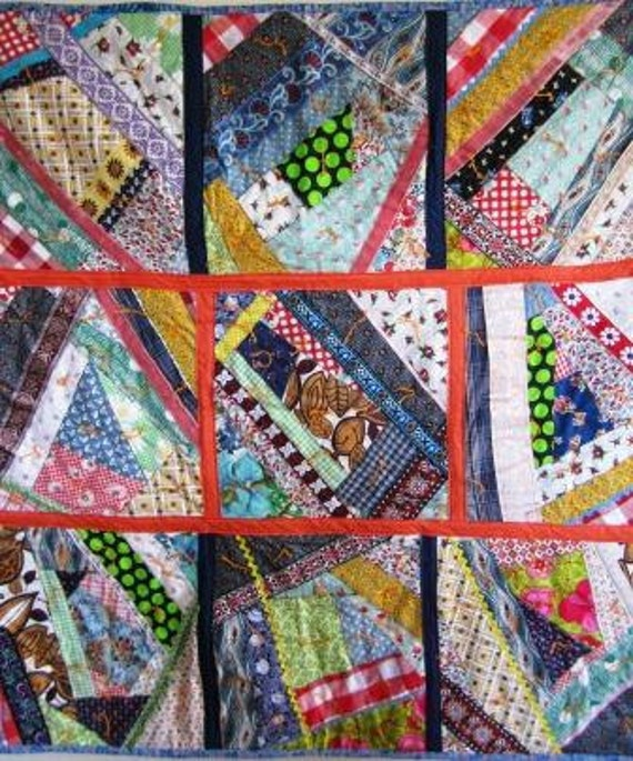 Crazy Quilt Folk Art Outsider Country Patchwork Baby Wall Tied
