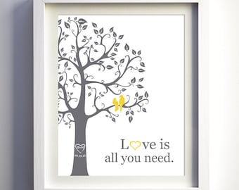 Custom wedding anniversary gift, love bird wedding gift, personalized fanily tree with birds, paper anniversary gift idea, love birds art
