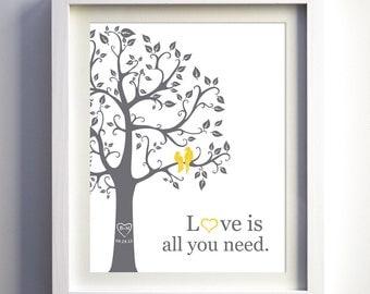 Custom wedding anniversary gift, love bird wedding gift, personalized fanily tree with birds, paper anniversary gift idea, love birds art