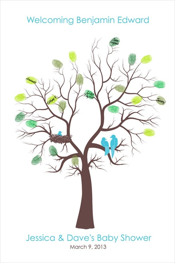 baby shower tree family tree thumb print poster fingerprint tree
